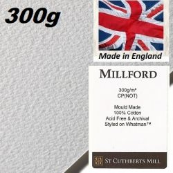 "MILLFORD ""WHATMAN""  WATERCOLOUR PAPER 300g 76 x 56 - Професионален акварелен ръчен картон 100% памук  # Made in England"