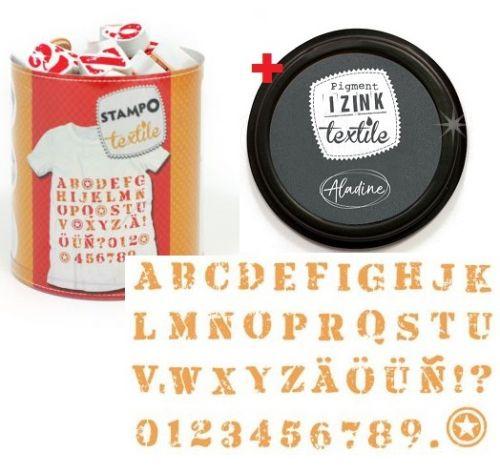 ALADINE STAMPO TEXTILE - К-кт гумени печати+тампон за текстил и др