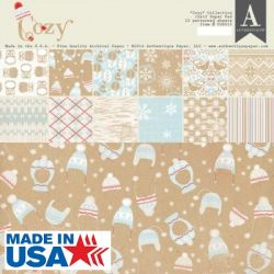 AUTHENTIQUE USA # COZY,Double sided sheets - Дизайнерски блок 12 X 12 /  22 листа