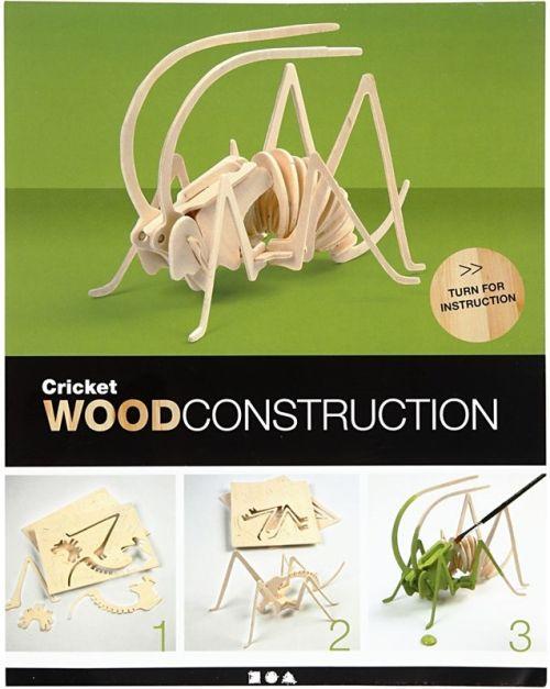 3D Wood Construction Kit CRICKET - Дървен пъзел - конструктор 22,5x15x18