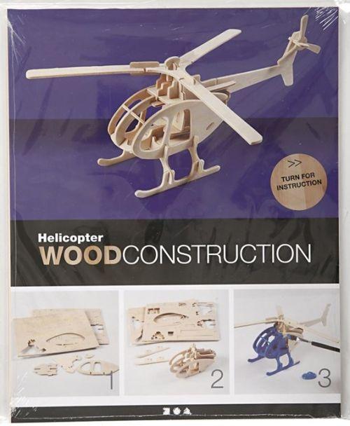 3D Wood Construction Kit HELICOPTER - Дървен конструктор 26,5x14x26