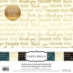 "Carta Bella THANK YOU GOLD FOIL 12"" x 12""- Дизайнерски блок 30.5 X 30.5"