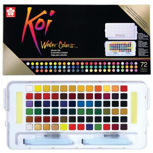 # KOI SAKURA 72 Watercolours - Екстра фини японски акварели к-кт 72 цвята + Aquabrush
