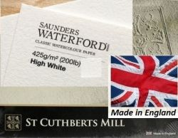SAUNDERS WATERFORD CP 425g HIGH WHITE 76 x 56 - Професионален акварелен ръчен картон 100% памук  # Made in England