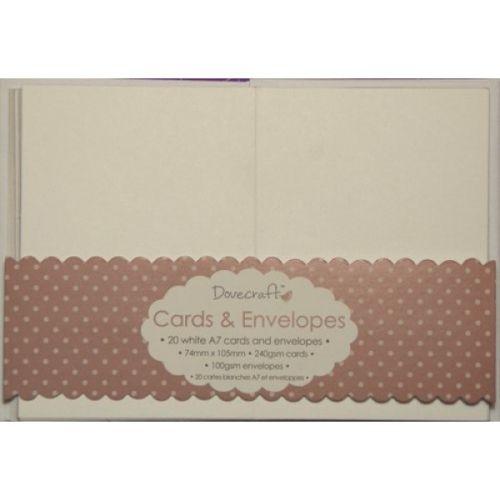 DOVECRAFT WHITE A7 MINI Cards & Envelopes 20  -  Основи за картички с плик - БЕЛИ