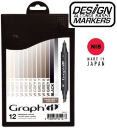 # GRAPH IT ALCOHOL MARKERS 12 - Двувърхи дизайн маркери 12цв WARM GREYS