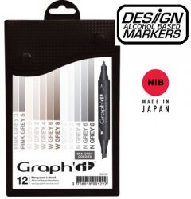 # GRAPH IT ALCOHOL MARKERS 12 - Двувърхи дизайн маркери 12цв MIX GREYS