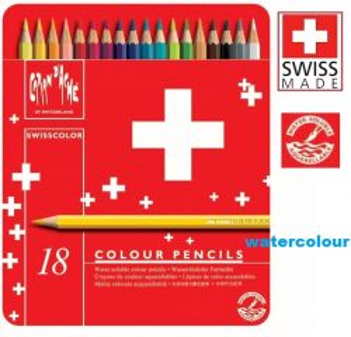 CARAN D'ACHE WATERCOLOUR PENCILS 18 -  АКВАРЕЛНИ цветни моливи за рисуване 18цв / метална кутия