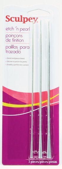 NEEDLES SCULPEY,USA - К-кт три специални игли за пробиване и низане на мъниста от полимерна глина