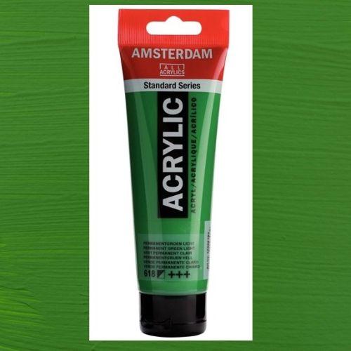 AMSTERDAM ACRYLIC - Акрилна боя за живопис 120 мл. - Permanent green light 618