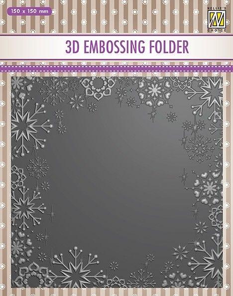"3D-embossing folder ""Snowflake frame"" 105x148mm- 3D Ембос папка"