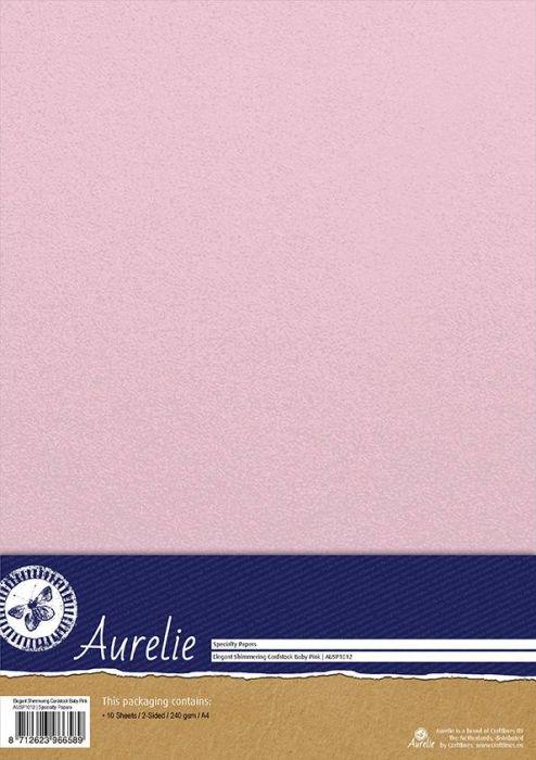 AURELIE PEARL 10бр - Двустранен перла-металик картон 240гр # SHIMMERING PINK