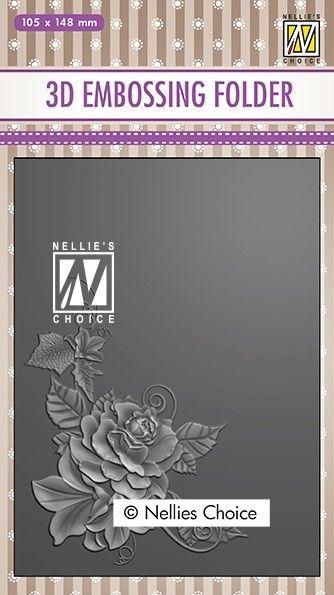 "3D-embossing folder ""Rose corner-2"" 105x148mm- 3D Ембос папка"