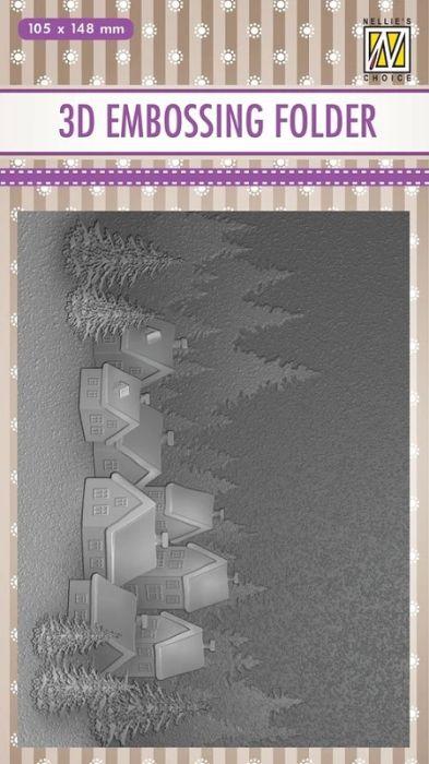 """3D-embossing folder """"Snowy village"""" 105x148mm- 3D Ембос папка"""