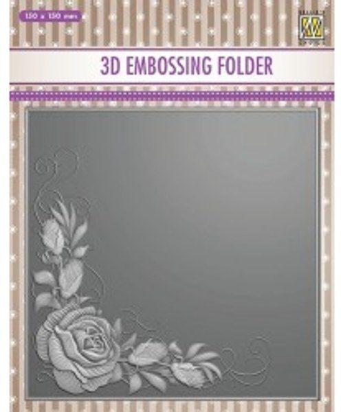 "3D-embossing folder ""Rose corner"" 150x150mm- 3D Ембос папка"