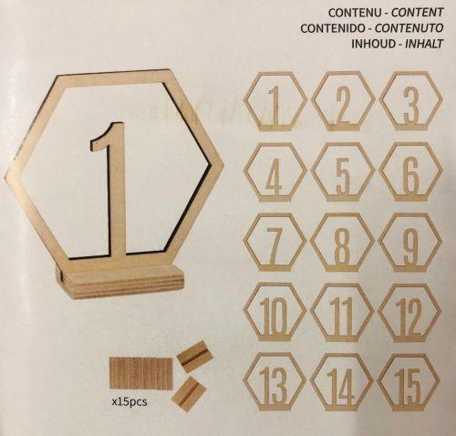 15 Hexagonal Wooden Numbers - Дървени деко цифри с поставка - 15бр.