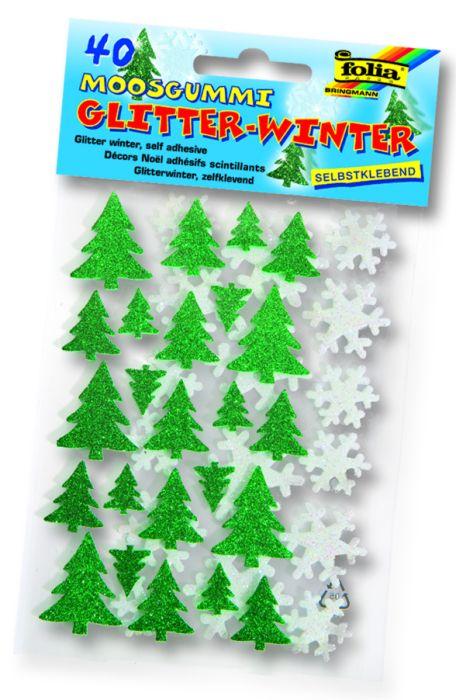 3D глитер стикери елхи и снежинки - изработени от MOOSGUMMI - 40 бр.