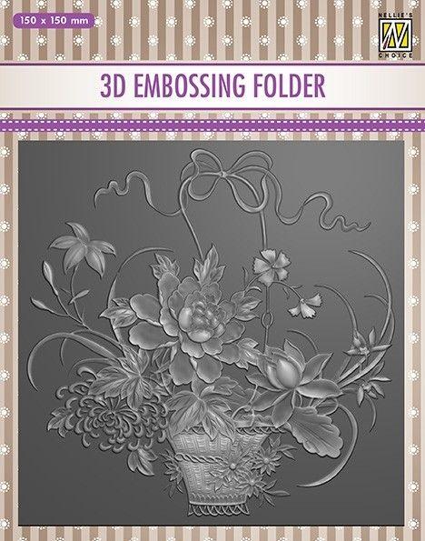"""3D-embossing folder """"BOUQUET"""" 150x150mm- 3D Ембос папка"""
