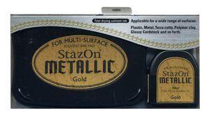 StazOn METALLIC - Тампон + мастило за всякаква твърда или гланцирана повърхност - плътно Злато