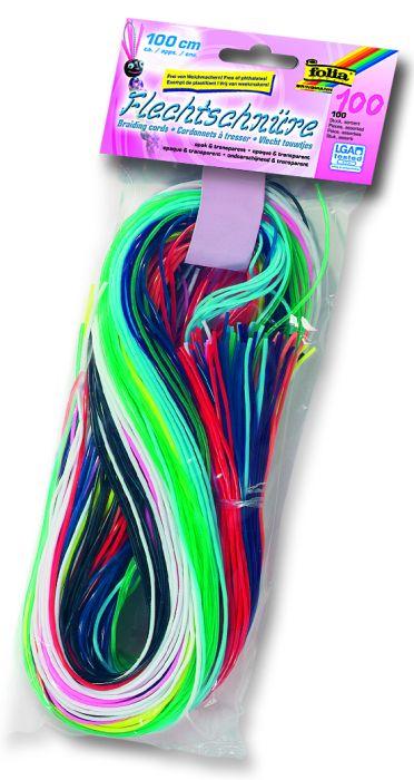 FOLIA FLECHTSCHNURE - Силиконови шнурове за плетене 100бр микс X 1метър
